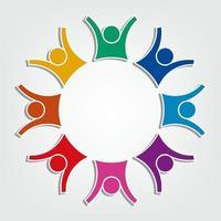 logotipo do grupo de oito pessoas em um círculo. vetor