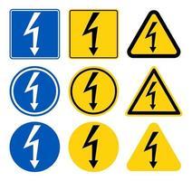 seta de alta tensão sign.black isolada no triângulo amarelo no ícone branco background.warning. ilustração vetorial vetor