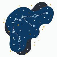 Aquário do signo do zodíaco da constelação fofa rabiscos desenhados à mão com estrelas e pontos no espaço abstrato vetor