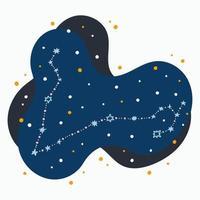 Constelação fofa signo do zodíaco Pisces rabisca estrelas desenhadas à mão e pontos no espaço abstrato vetor