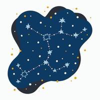 Sagitário, signo bonito da constelação do zodíaco rabiscando estrelas desenhadas à mão e pontos no espaço abstrato vetor