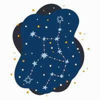 Constelação fofa signo do zodíaco virgem rabiscos desenhados à mão com estrelas e pontos no espaço abstrato vetor