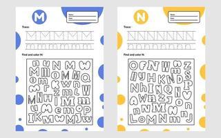 definir planilha de letras de rastreamento a4 para crianças em idade pré-escolar e jogo em idade escolar para crianças encontrar e colorir vetor