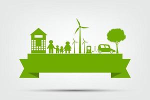 conceito de cidade de ecologia e ambiente com idéias ecológicas, ilustração vetorial vetor