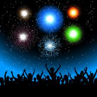 Festa com fogos de artifício vetor