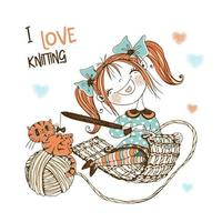 costureira linda garota com um gato tricô de crochê. vetor
