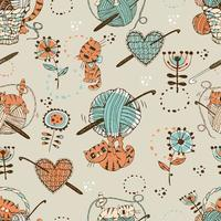 crochê. padrão sem emenda com gatos bonitos, bolas de lã e acessórios de tricô. vetor