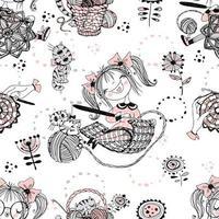 mulheres bonitas costureiras tricotadores de crochê. padrão sem emenda. vetor