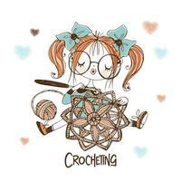 uma linda costureira está fazendo um guardanapo com orifícios de crochê. vetor