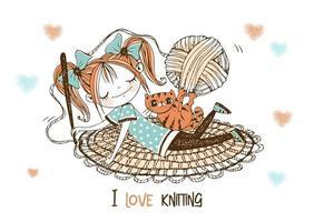 costureira linda garota faz um tapete de crochê. vetor