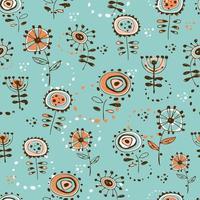 padrão sem emenda com flores de estilo doodle fofo. fundo turquesa. vetor