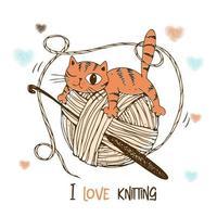 um gato em um novelo de lã. logotipo de crochê. vetor