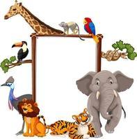 banner vazio com animais selvagens em fundo branco vetor
