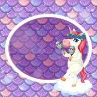 modelo de moldura oval em fundo de escamas de peixes roxos com o personagem de desenho animado de unicórnio fofo vetor
