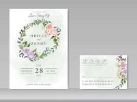 lindo design floral de convite de casamento vetor