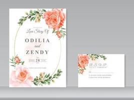 lindo conjunto de rosas com design de cartão de casamento vetor