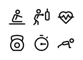 conjunto simples de ícones de linha de vetor relacionados a fitness
