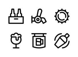 conjunto simples de ícones de linha de vetor relacionados à cerveja