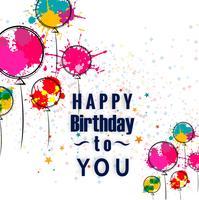 Cartão de feliz aniversário com design de balões aquarela mão desenhada vetor