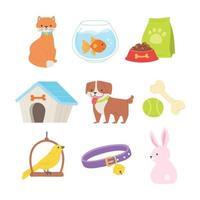 conjunto de animais de estimação e cuidados para animais de estimação vetor