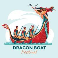 desenho festival barco dragão vetor