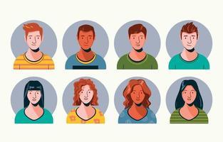 conjunto de coleção de avatar jovem vetor
