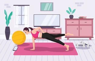 mulher fazendo exercícios em casa durante a pandemia vetor