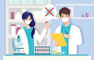médico faz antivírus ou vacina para vírus corona vetor
