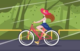 linda mulher andando de bicicleta na bicicleta de estrada vetor