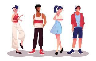 estilo de conjunto fofo de personagens jovens vetor