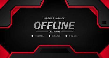 offline para jogos ou transmissão ao vivo com fundo preto esportivo com linha vermelha vetor