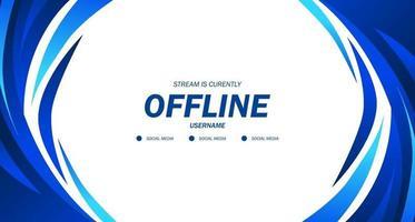 offline para jogos ou transmissão ao vivo com banner de fundo azul líquido fluido vetor