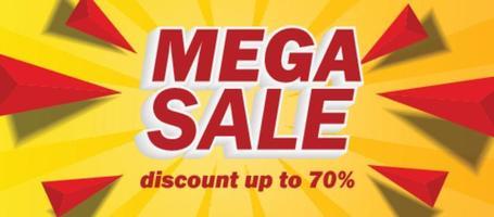 promoção de cartaz de banner super grande mega venda vetor