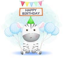 zebra de bebê fofo usando chapéu de festa com balões. feliz aniversário saudação vetor premium