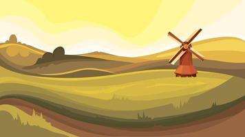 paisagem rural com moinho vetor