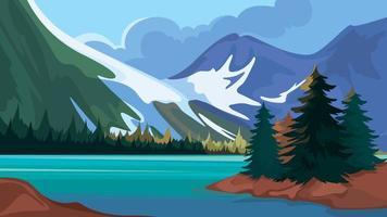 lago turquesa nas montanhas vetor