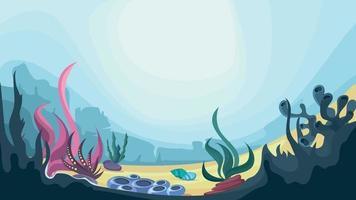 fundo do oceano com algas e corais vetor