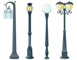 conjunto de postes de luz diferentes vetor
