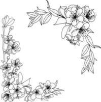 fundo floral com flor no galho e folhas vetor