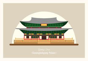 Ilustração em vetor cartão postal Gyeongbokgung Palace