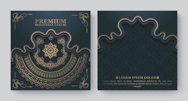cartão de mandala de luxo com fundo escuro vetor