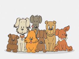 Desenho de Doodle colorido de família de cão vetor