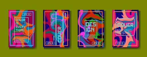 modelos criativos fluidos abstratos, cartões, conjunto de capas de cores. desenho geométrico, líquidos, formas. coleção de vetores na moda.