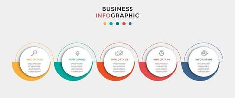 infográfico modelo de negócio de design de vetor com ícones e 5 opções ou etapas. pode ser usado para diagrama de processo, apresentações, layout de fluxo de trabalho, banner, fluxograma, gráfico de informações