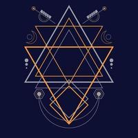 ornamento de ilustração vetorial desenhada à mão geometria sagrada abstrata vetor