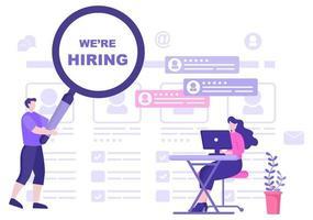 contratação de trabalho e recrutamento online para página de destino da web, banner, plano de fundo, apresentação ou mídia social. ilustração vetorial vetor