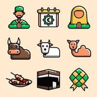 coleção de ícones eid al-adha vetor