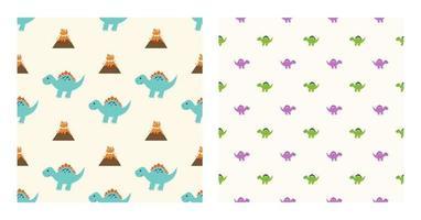 dinossauros spinosaurus de personagens de desenhos animados bonitos com padrão sem emenda para papel de parede plano de fundo, cartazes ou modelo de banner. ilustração vetorial vetor