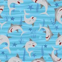 vector tubarão animal marinho selvagem com algas marinhas no mar. imprimir para roupas de verão engraçado para meninas ou meninos.