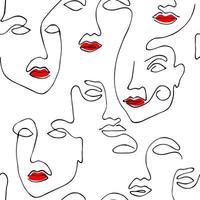 desenho padrão sem emenda de rosto abstrato com lábios vermelhos. arte minimalista moderna, contorno estético. fundo de linha contínua com rostos de mulheres. vetor